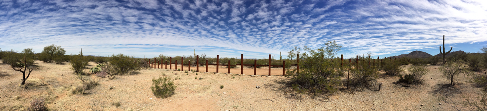 Mexico - US border seen from the Mexican side in the middle of the Sonoran desert, 2014