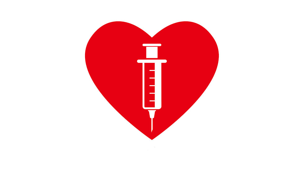 A heart with a vaccine inside