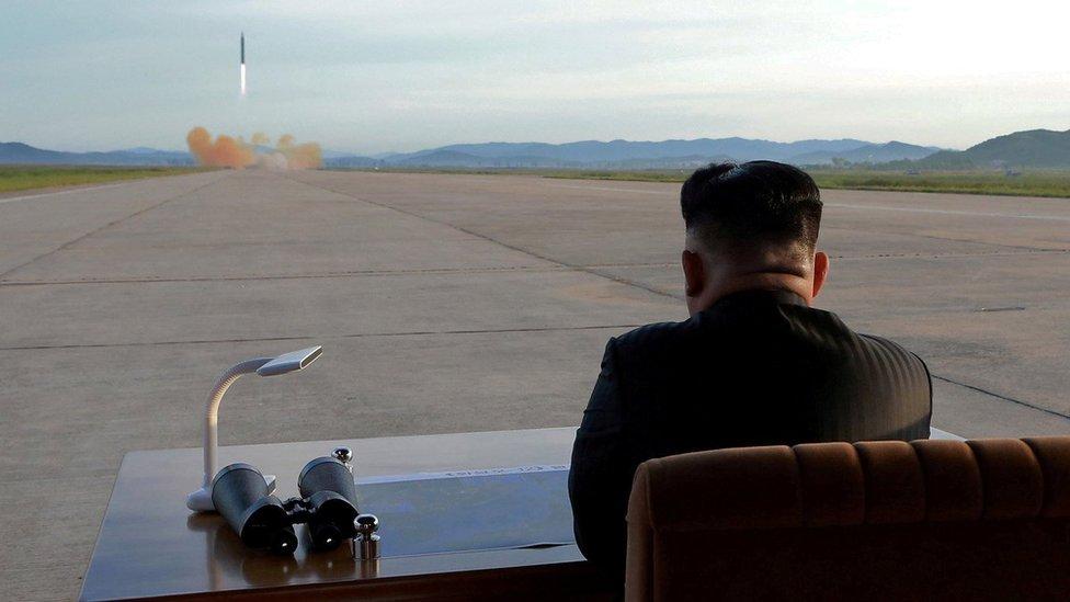 Kim Jong-un watching missile launch