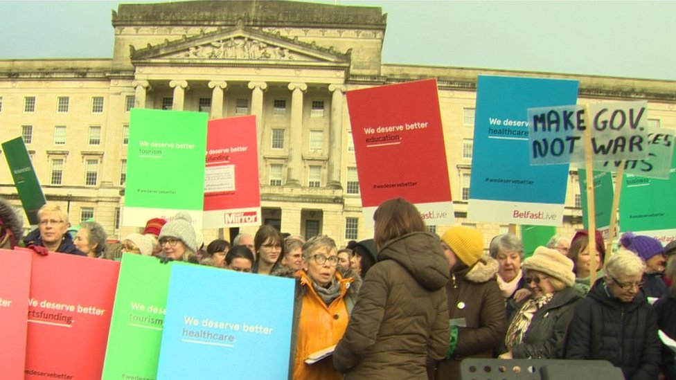 Protesters outside Stormont