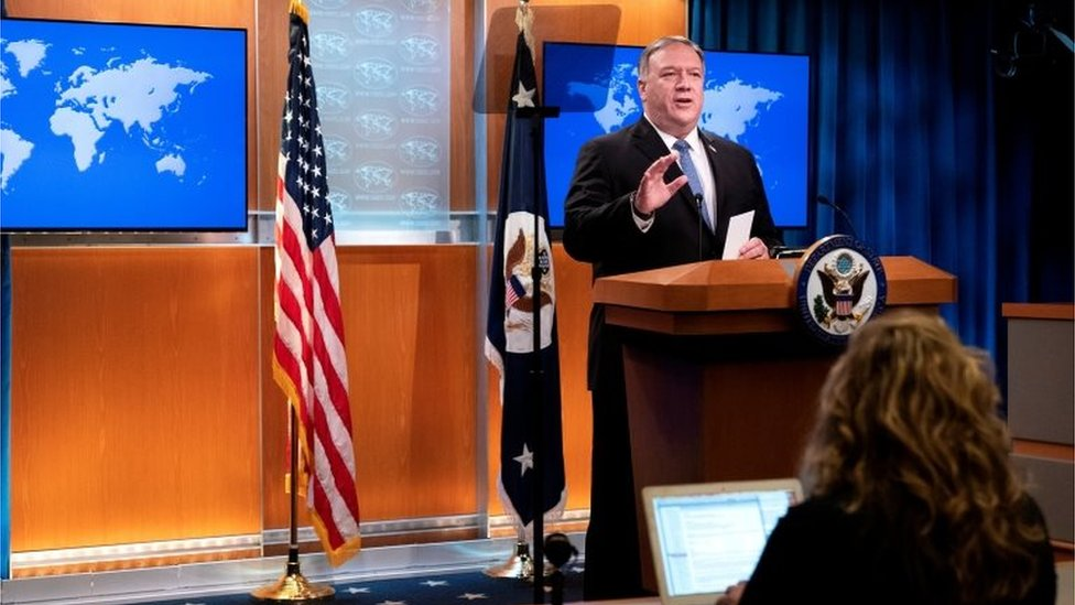 State Secretary Mike Pompeo speaks during a media briefing in Washington DC. Photo: November 2020