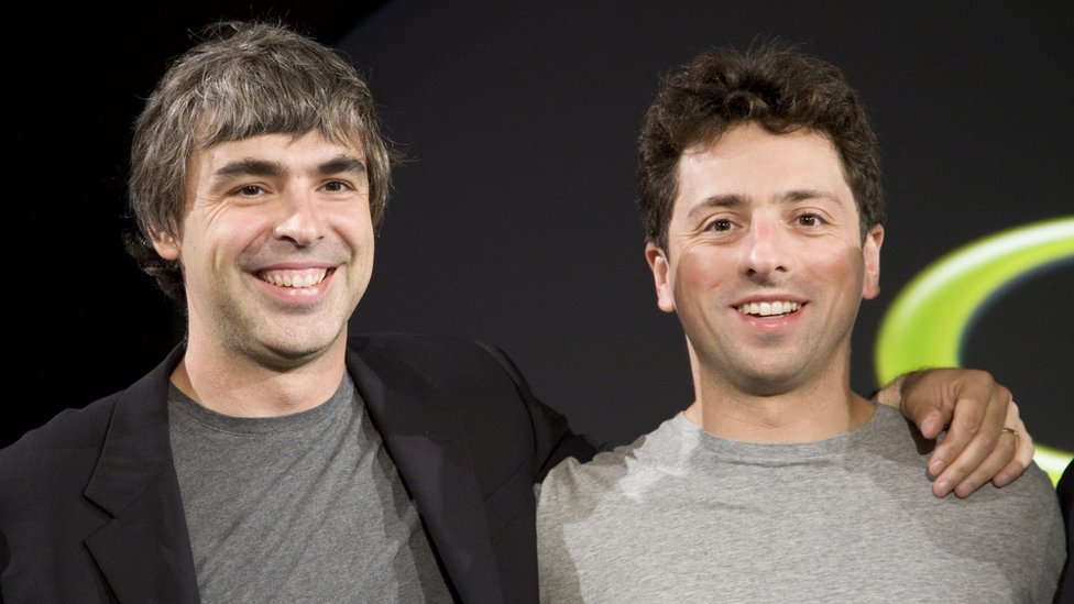 Larry Page (L) and Sergey Brin (R), the co-founders of Google, at a press event in 2008