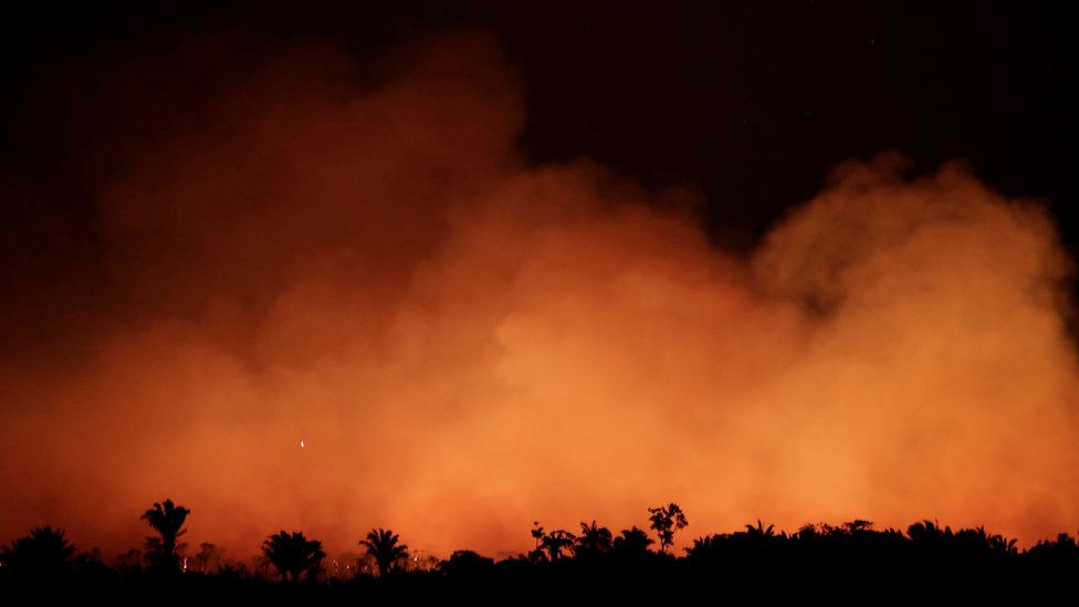 Night photo showing smoke in the Amazon