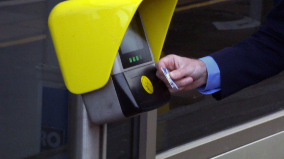 Michael Matheson using a Scotrail smartcard on a card reader