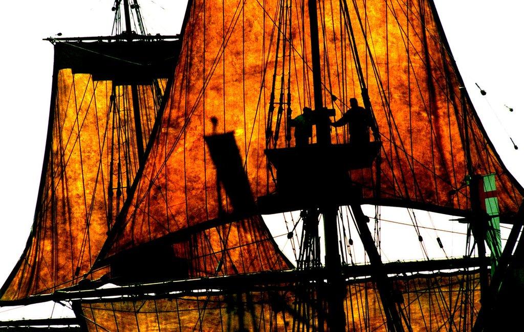 El Mayflower II en un viaje a Provincetown en la celebración del 375º de la llegada a Plymouth.