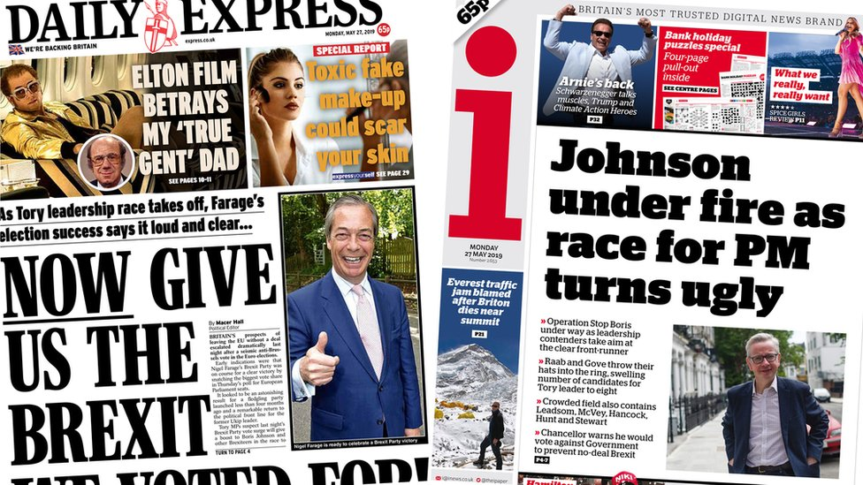 Newspaper headlines: 'Knives out' and EU election 'meltdown'