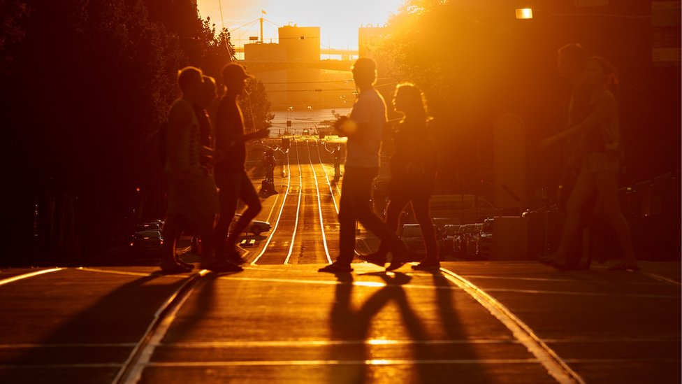 Sunlight fills central Melbourne during the event on Tuesday
