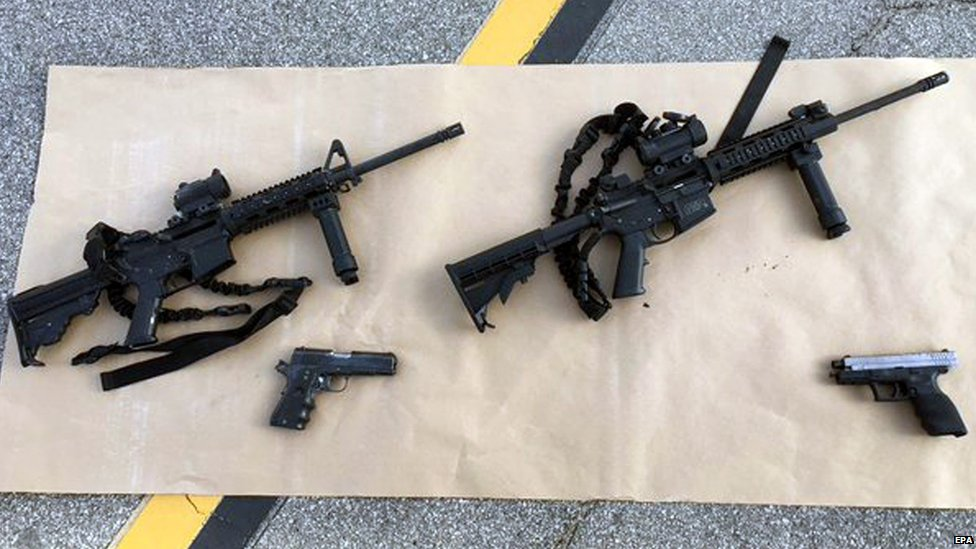 An undated handout picture made available by the San Bernardino County Sheriff on 03 December 2015 shows weapons carried by suspects involved in a mass shooting, at the scene of a shooting with an officer, in San Bernardino, California, USA