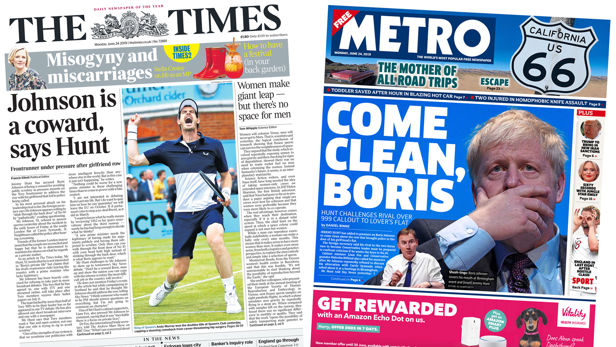 Paper review: Pressure on Johnson to 'come clean' on partner row