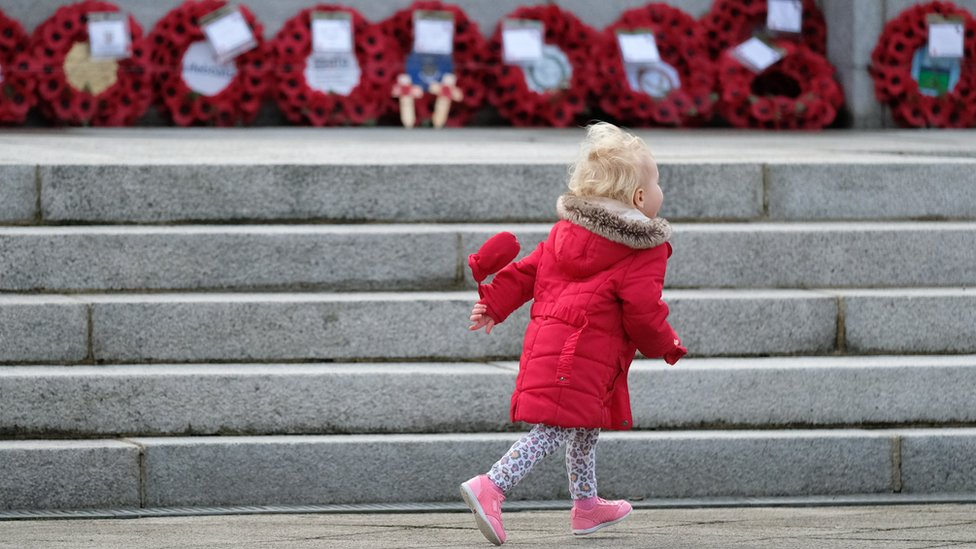 A young girl at Hartlepool War Memorial