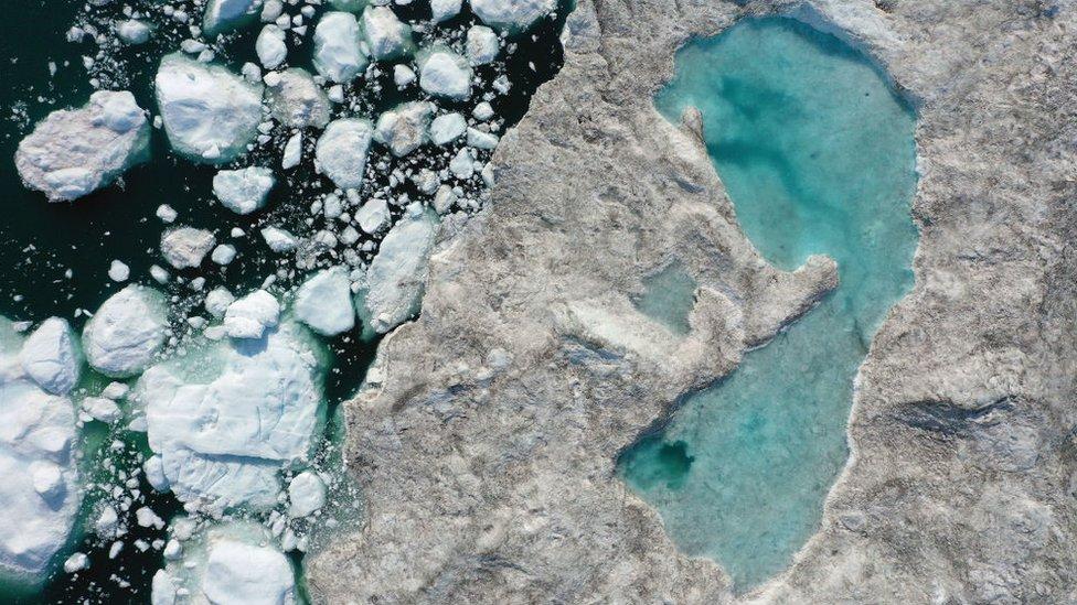 Glaciar derretido en Groenlandia, julio de 2019.