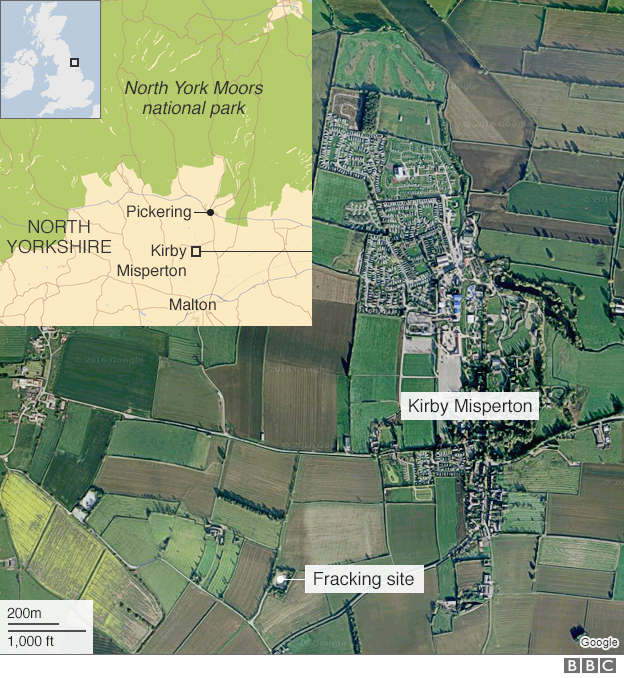 Map of Kirby Mispeton and the fracking site