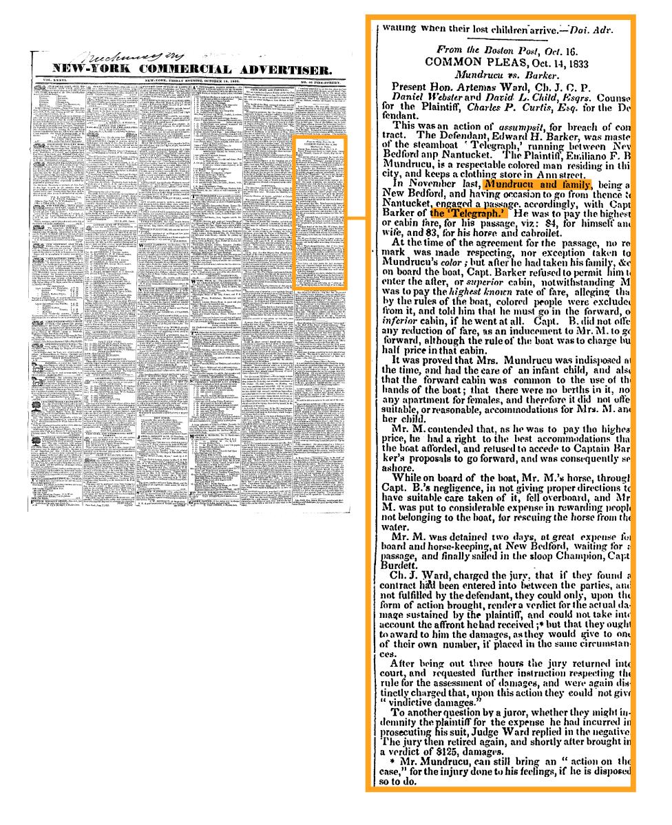 El informe del periódico de Nueva York en 1833 anunciando la victoria de Mundrucu en el primer caso judicial