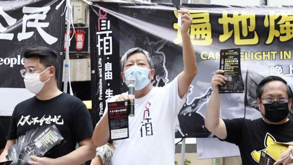 支聯會主席李卓人(中)號召香港人,讓今年的燭光「遍地開花」。