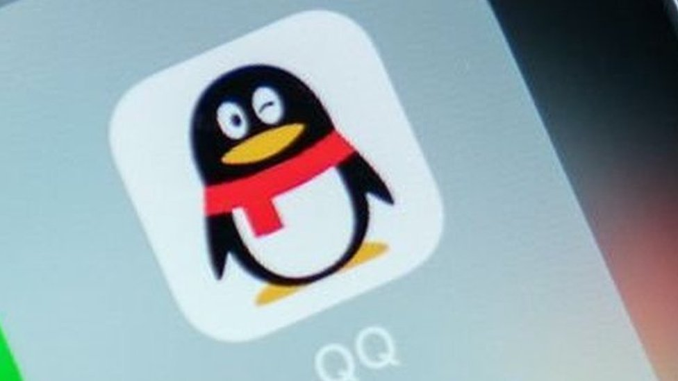 Upclose shot of the penguin logo of the QQ app