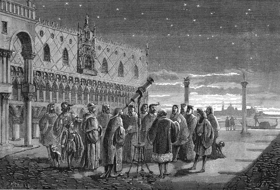 Galileo demostrando el funcionamiento de su telescopio en el siglo XVII.
