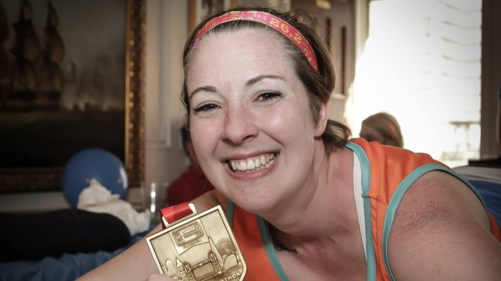 Bethan with her medal from the 2017 London Marathon.