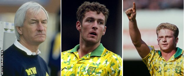Norwich manager Mike Walker and strike duo Chris Sutton and Mark Robins