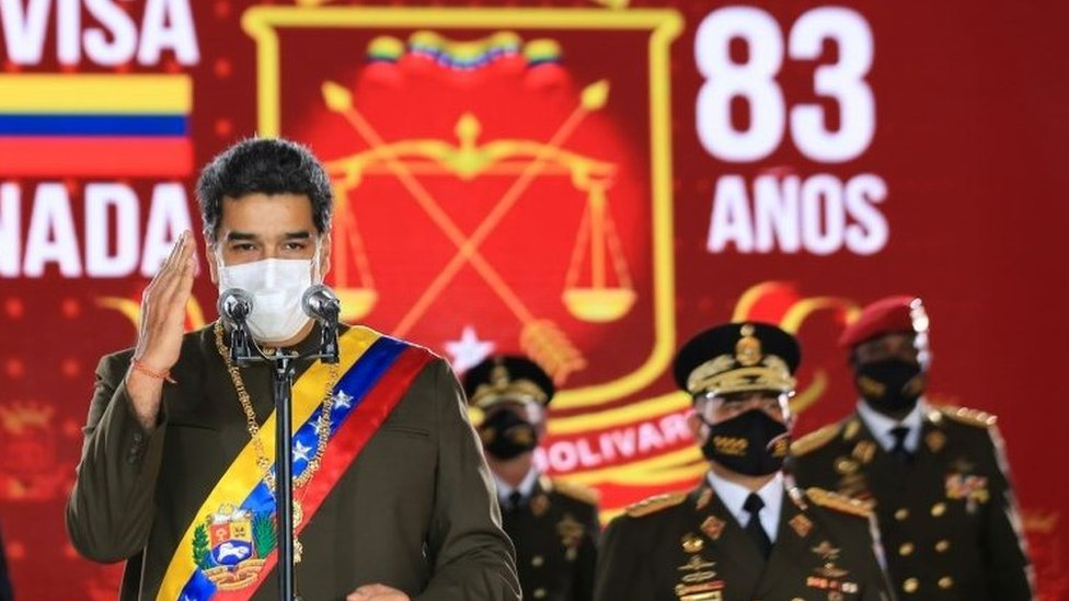 Venezuela's President Nicolas Maduro speaks during Venezuela's Bolivarian National Guard anniversary ceremony, amid the outbreak of the coronavirus disease (COVID-19), in Caracas, Venezuela August 4, 2020