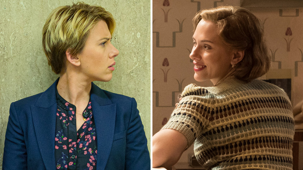 Scarlett Johansson in Marriage Story (left) and Jojo Rabbit