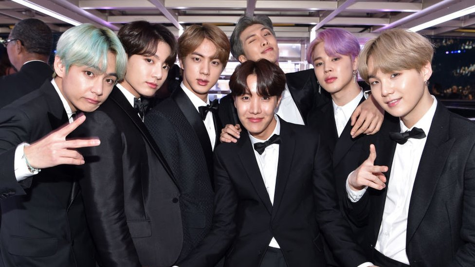 : South Korean boy band BTS backstage during the 61st Annual GRAMMY Awards