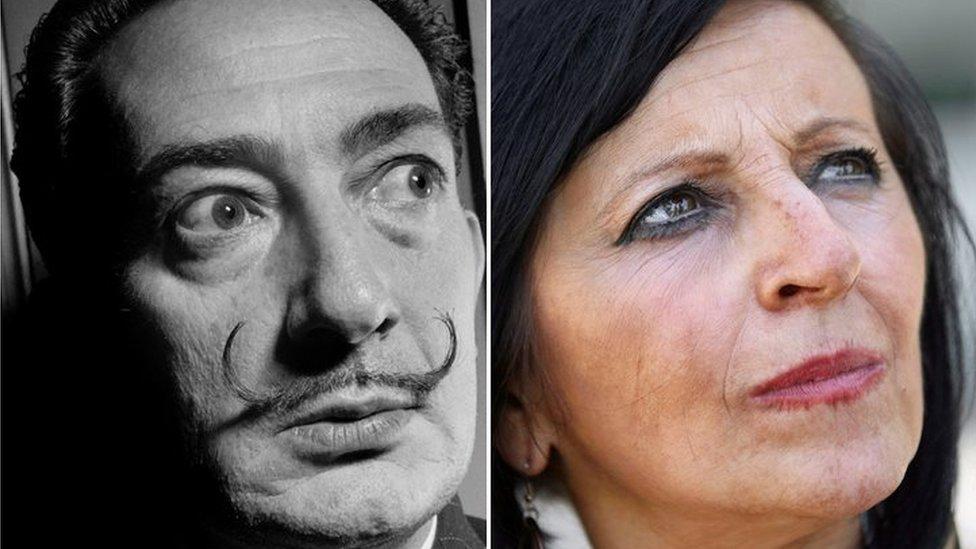 Composite picture of Salvador Dalí and Maria Pilar Abel Martínez