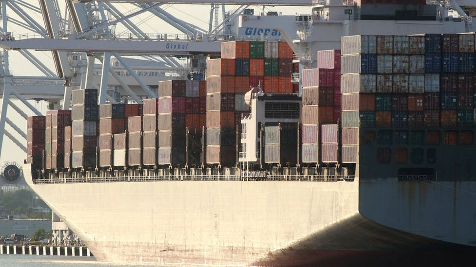 Cargo ship unloaded in Jersey City, New Jersey