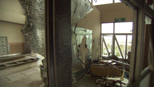 Destroyed building in Fukushima