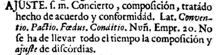 Ajuste en el diccionario de 1726 del Nuevo tesoro lexicográfico de la lengua española (NTLLE)