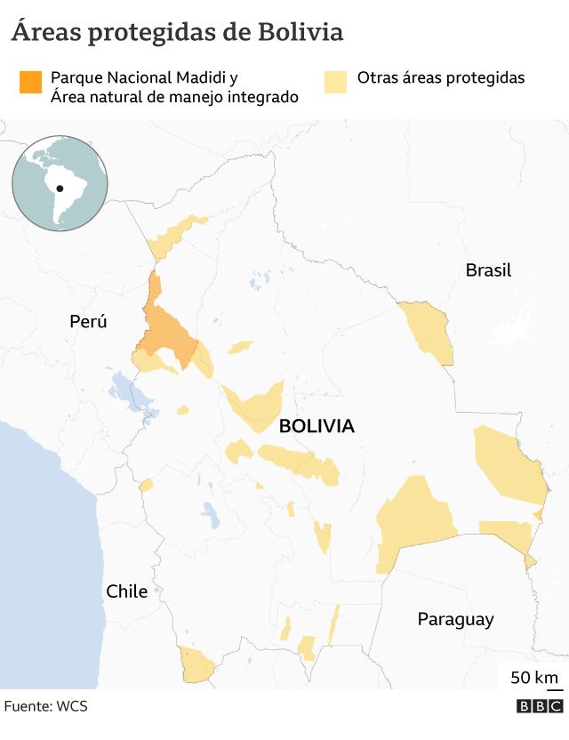 Mapa que muestra al Parque Nacional Madidi y otras áreas protegidas de Bolivia