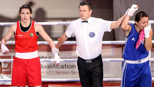 Katie Taylor looked stunned after suffering her first defeat in five years
