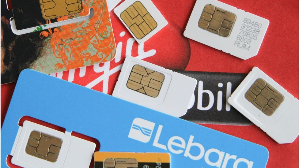 A variety of SIM cards