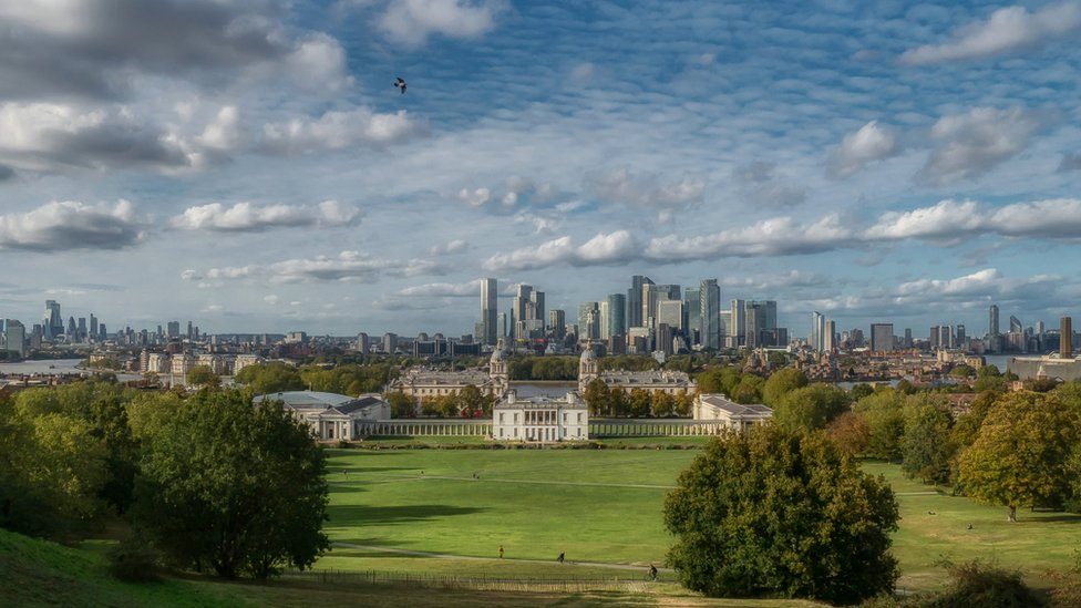 Overlooking London from the top of Greenwich Park