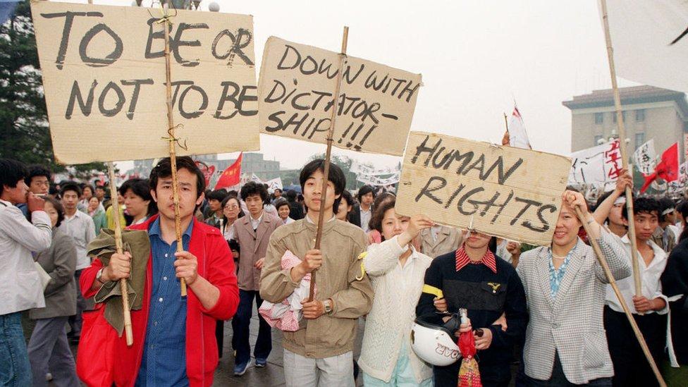 Manifestantes en la plaza Tiananmen en 1989.