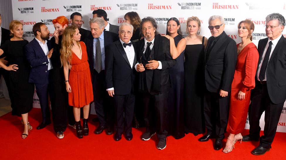 Graham (second left) with Robert De Niro, Martin Scorsese, Al Pacino and the cast of The Irishman last month