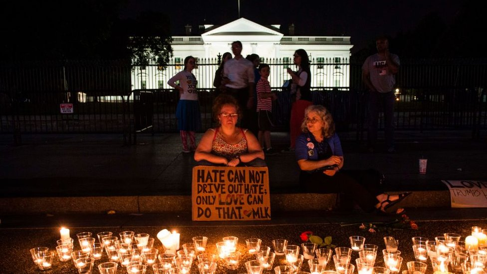 A vigil outside the White House after a white supremacist killed a woman in Charlottesville, Virginia