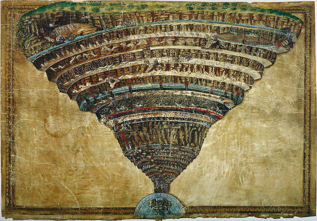 """Abismo del Infierno"" de Sandro Botticelli. Biblioteca Apostólica Vaticana."