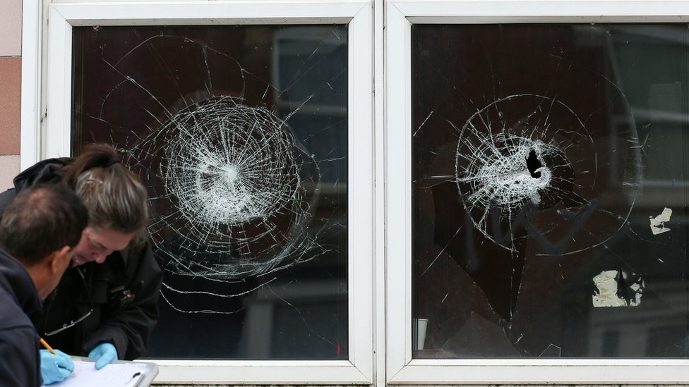 Smashed windows at the mosque and community centre on Albert Road