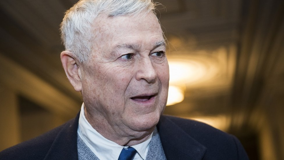 Dana Rohrabacher leaves the House Republican leadership election in Longworth Building on 14 November 2018.