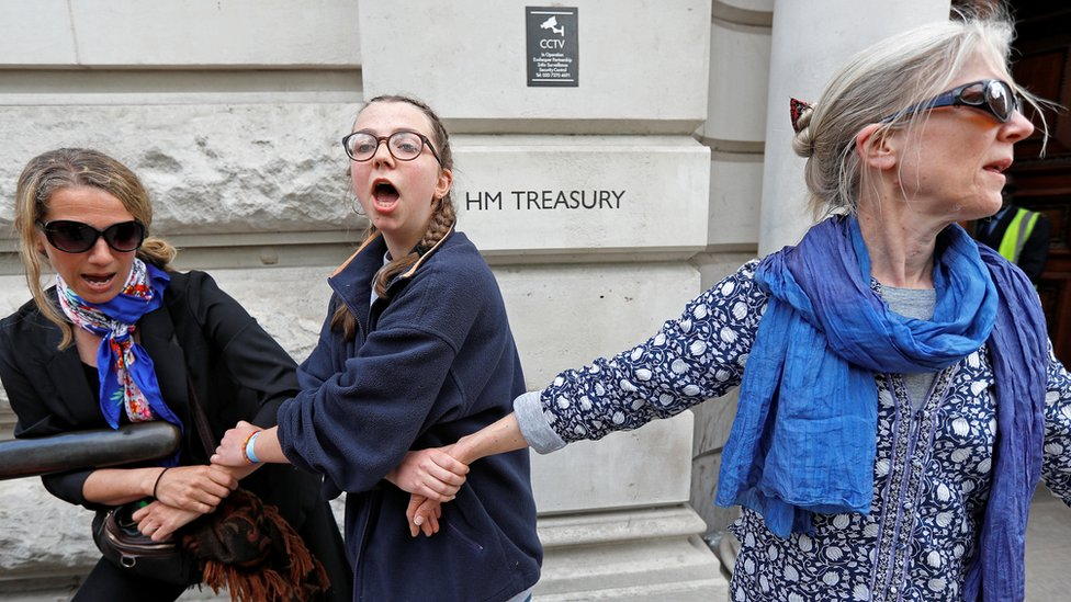 Protesters at Treasury