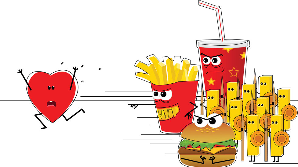 Drawing of junk food attacking a heart.
