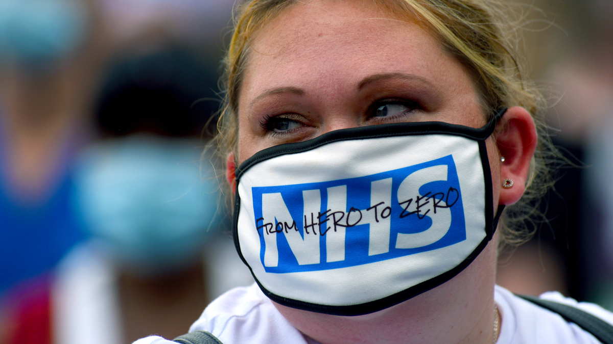 Nurse during a demonstration at No 10 Downing Street - protesting at being left out of a public sector pay rise on August 08, 2020