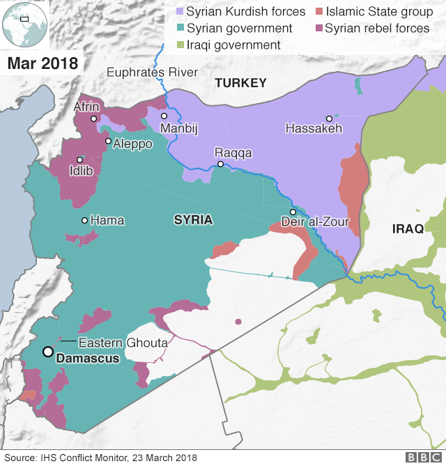 Map showing control of Syria (23 March 2018)