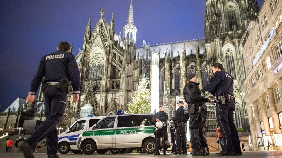 Police outside the main railway station next to Cologne cathedral. 6 January 2016