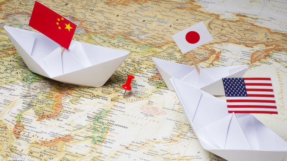 美國、中國、日本國旗