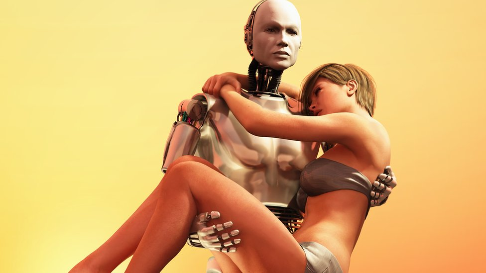 Robot carrying a bikini-clad woman