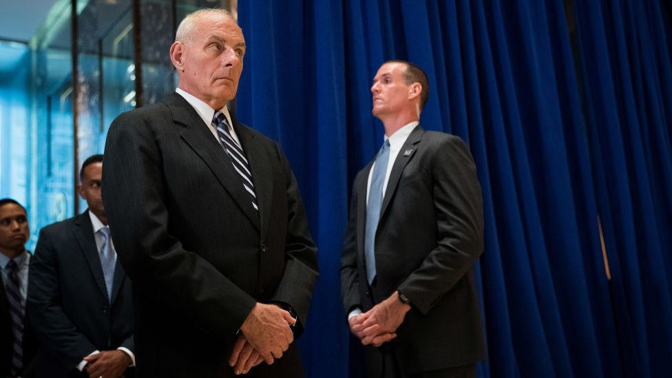 Trump's chief of staff glanced down at his feet throughout the Tuesday press conference