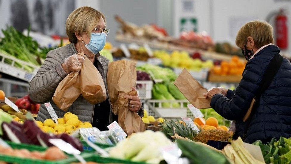 Fruit and veg market in Varazze, northern Italy, 5 Nov 20