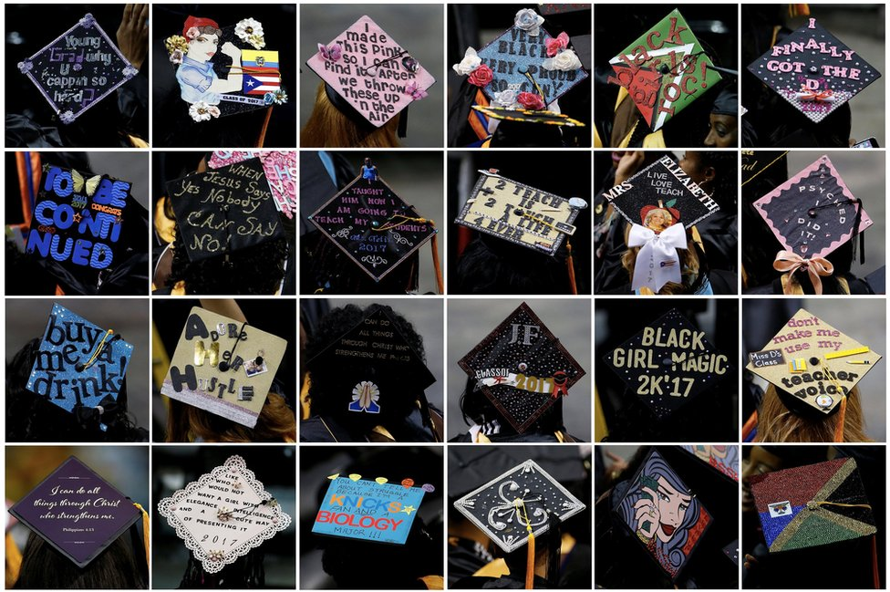 This combination photo shows graduates' mortar board hats emblazoned with decorations