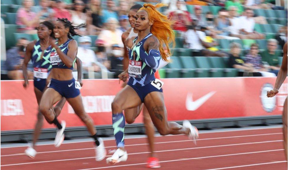 Sha'carri Richardson running in Oregon